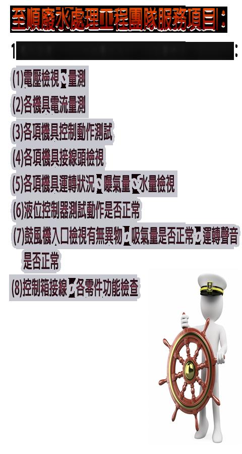 至順廢水處理工程團隊服務項目:1.機具報養-污水系統機具每月二次由乙方排定維修日期保養檢視,項目如下:(1)電壓檢視、量測(2)各機具電流量測(3)各項機具控制動作測試(4)各項機具接線頭檢視(5)各項機具運轉狀況、曝氣量、水量檢視(6)液位控制器測試動作是否正常(7)鼓風機入口檢視有無異物,吸氣量是否正常,運轉聲音是否正常(8)控制箱接線,各零件功能檢查